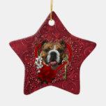 Valentines - Key to My Heart - Bulldog Ceramic Star Ornament