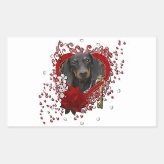 Valentines - Key to My Heart - Dachshund - Winston Rectangle Sticker