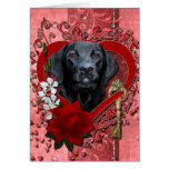 Valentines - Key to My Heart - Labrador - Black Greeting Card