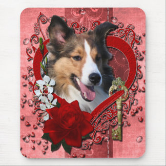 Valentines - Key to My Heart - Sheltie Mouse Pad