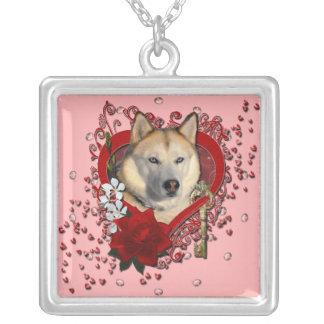 Valentines - Key to My Heart Siberian Husky Copper Pendants