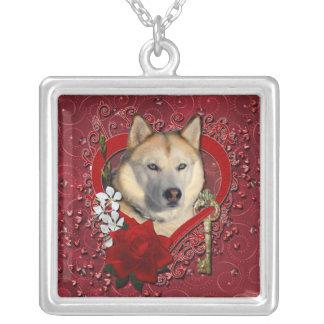 Valentines - Key to My Heart Siberian Husky Copper Custom Necklace