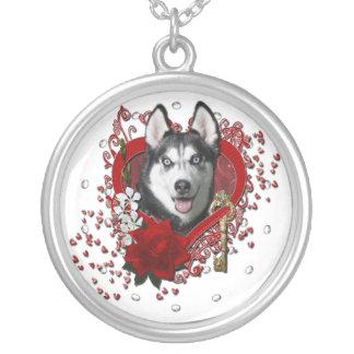 Valentines - Key to My Heart - Siberian Husky Necklace