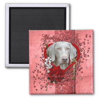 Valentines - Key to My Heart - Weimeraner - Gold Magnet