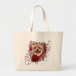 Valentines - Key to My Heart - Yorkshire Terrier Jumbo Tote Bag