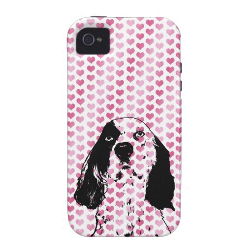 Valentines - Llewellin Setter Silhouette Vibe iPhone 4 Cases