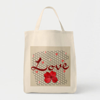 Valentines love grocery tote bag
