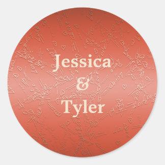 Valentines.Love. monogram. Classic Round Sticker