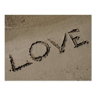 Valentines Love Written on the Sand Postcard