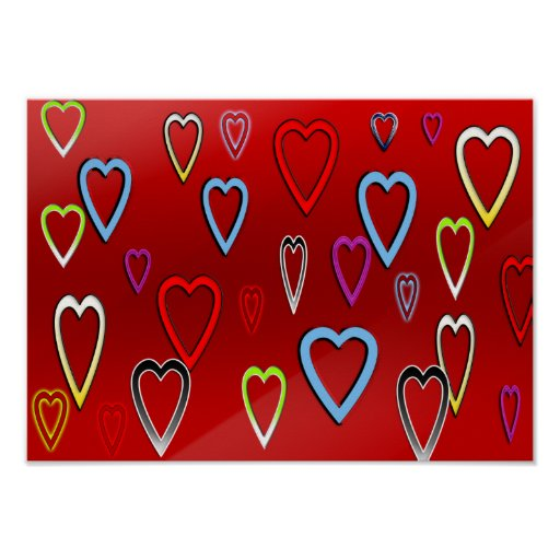 Valentines Multi-colored Hearts on Red Poster