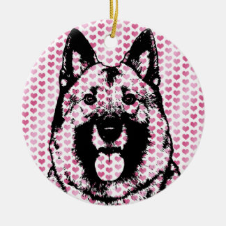 Valentines - Norwegian Elkhound Silhouette Christmas Ornaments