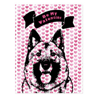 Valentines - Norwegian Elkhound Silhouette Postcard