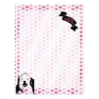 Valentines - Olde English Sheepdog Silhouette Letterhead