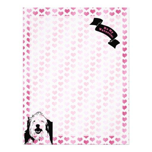 Valentines - Olde English Sheepdog Silhouette Letterhead