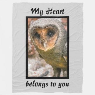 Valentines Owl Fleece Blanket