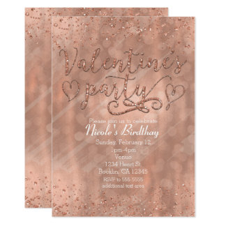 Valentine's Party Pink Rose Gold Glam Invitations
