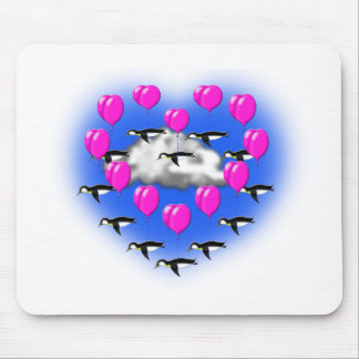 valentines penguins , heartshaped flying mouse pad