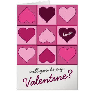 Valentines Pink Graphic Hearts Up Down any Text Card