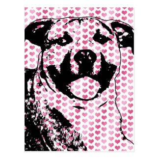Valentines - Pitbull Silhouette Postcard