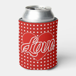Valentine's Polka Dots Heart Can Cooler