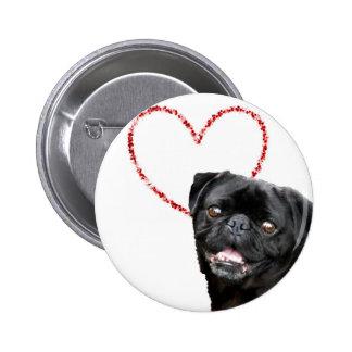 Valentine's pug dog 2 inch round button