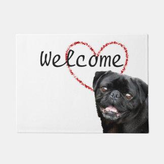 Valentine's pug dog doormat