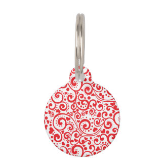 Valentines - Red Hearts and Swirls Seamless Pet Tag