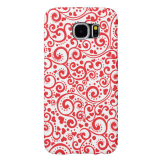 Valentines - Red Hearts and Swirls Seamless Samsung Galaxy S6 Cases