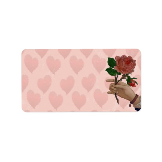 Valentines Red Rose hand of friendship Label