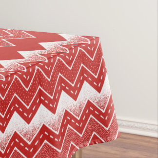 Valentines Red & White Chevron Pattern Tablecloth