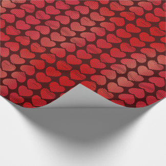 Valentines Rosy Red Hearts Wrapping Paper