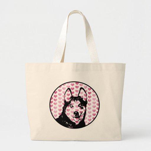 Valentines - Siberian Husky Silhouette Tote Bag