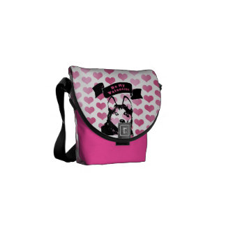 Valentines - Siberian Husky Silhouette Courier Bag