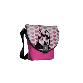 Valentines - Siberian Husky Silhouette Courier Bags