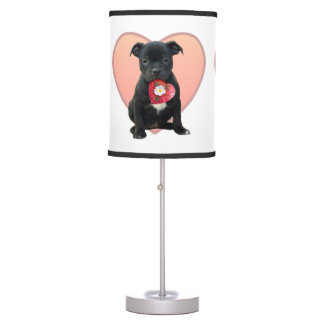 Valentine's Staffordshire bull terrier puppy Desk Lamps