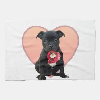 Valentine's Staffordshire bull terrier puppy Hand Towel