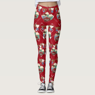 Valentines sweets and white hearts pattern leggings