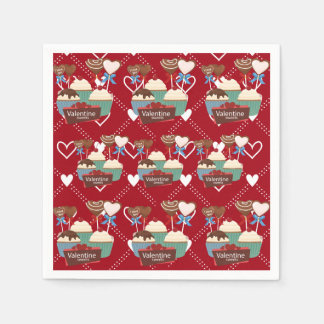 Valentines sweets and white hearts pattern paper napkin
