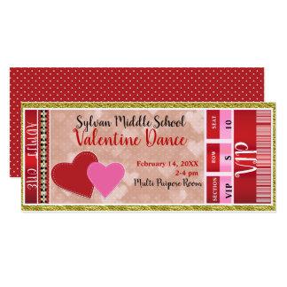 Valentine's Valentine Party Admit One VIP Dance Card
