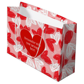 "Valentine's ""With Love"" Hearts Customize Large Gift Bag"