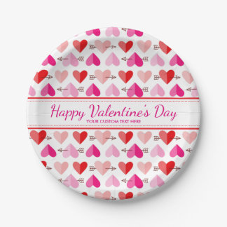 Valentin's Day Cute Hearts & Arrows Custom Text Paper Plate