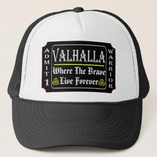 Valhalla Admit 1 Warrior Where The Brave May Live Trucker Hat