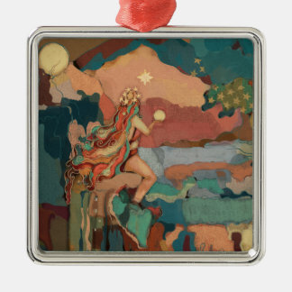 Valhalla Art Tuscan Pastels Stars Mystical Mermaid Metal Ornament