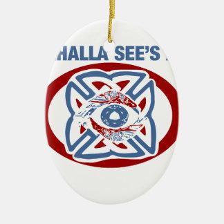 Valhalla Sees All - Viking Eye Ceramic Oval Ornament