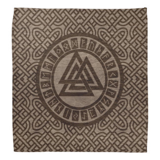 Valknut Symbol and Runes on Celtic Pattern on Wood Bandana