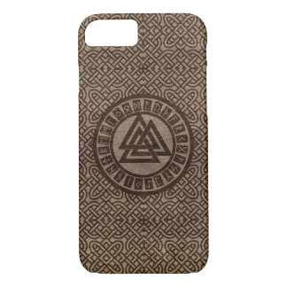 Valknut Symbol and Runes on Celtic Pattern on Wood Case-Mate iPhone Case