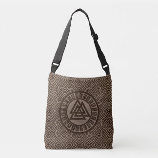 Valknut Symbol and Runes on Celtic Pattern on Wood Crossbody Bag