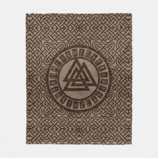 Valknut Symbol and Runes on Celtic Pattern on Wood Fleece Blanket