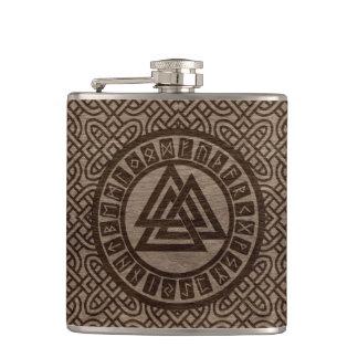 Valknut Symbol and Runes on Celtic Pattern on Wood Hip Flask