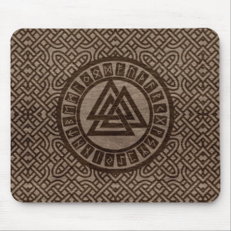 Valknut Symbol and Runes on Celtic Pattern on Wood Mouse Pad